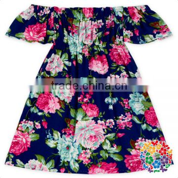 Navy floral elastic high waist off shoulder fancy dresses for baby girl