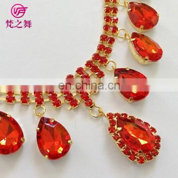 P-9054 Children and adult red belly dance necklace earring set jewelry