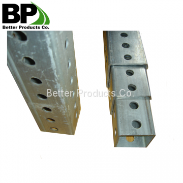 Steel tubing with holes all four sides