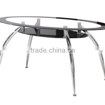 modern american furnitue tempered glass and chrome leg glass dining table