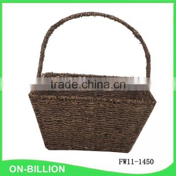 High handle black color seagrass basket