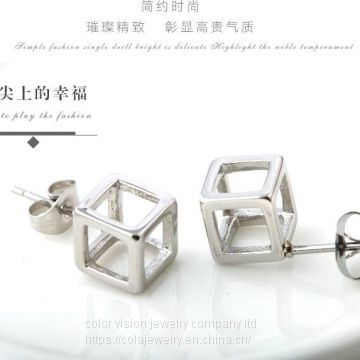 Fashion Jewelry Stainless Steel Hollow Square Earrings for Men/Women
