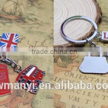 Best Selling Alloy Keychain Products Cute London England Flag & Phone Box Charms Metal Keychain K0126