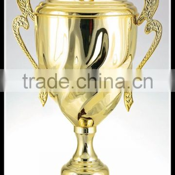 Custom Design 2016 Big Size Sports Gold Plate Metal Trophy Cup Factory
