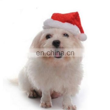 Christmas pet accessory red plush gift hat pet santa hat