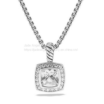 Sterling Silver Petite Albion Pendant with White Quartz and Diamonds on Chain