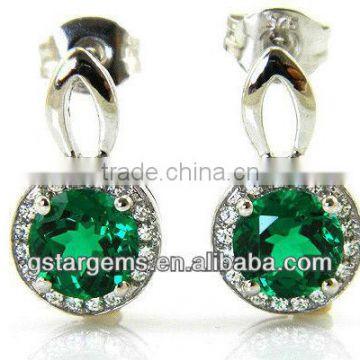 266943df5 925 Sterling Silver Created Emerald Earrings Hot Gemstone Jewelry Semi  precious stone Hong Kong Wholesale of 925 Silver Created Emerald Jewelry  from China ...