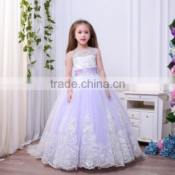 Sweet Tulle Ball Gown Sleeveless Light purple hole Back Gorgeous Scoop Chapel Train Little Bridesmaid Wedding Flower Girl Dress