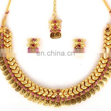 laxmi Coin Temple Jewelary- Wholesale Indian Jewellery set -Traditional South Indian Temple
