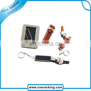 custom promotional gift USB 2.0 leather usb logo