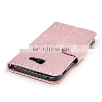 Embossed Maple Leaf Pattern PU Leather Case with Flip Card Holder Slot Wrist Srap for Samsung Galaxy A7 2017
