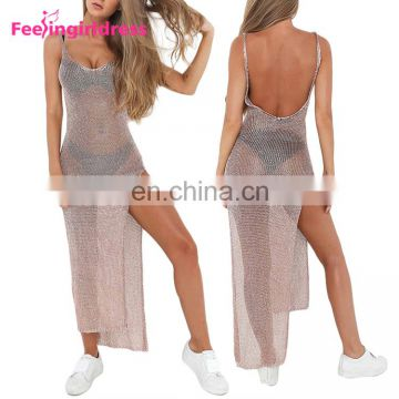 No Moq New Design Sexy Summer Maxi Long Sequins Beach Dress Women Wholesale