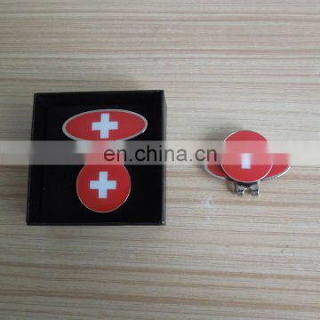 hot sale high quality enamel Switzerland flag hat clip custom