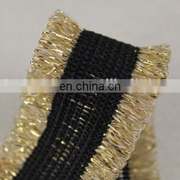 Fashionable fringes ribbon trim with gold lurex for garment accessories