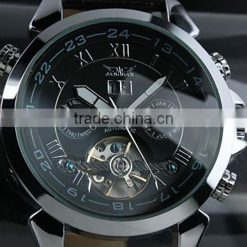 Jargar Men Gent Black Tourbillon Date Aviator Automatic Mechanical Watch