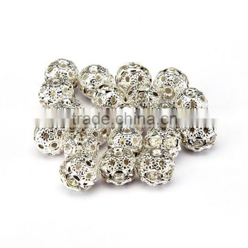 Nice 8mm Clear Crystal Color Metal Style #1 Caystal Rhiestone Ball Shape Spacer Beads Silver Plated 20pcs Per Bag