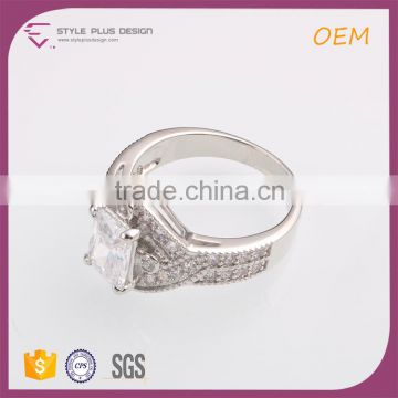 R63473K01 China wholesale jewelry silver plated diamond wedding rings jewelry for women