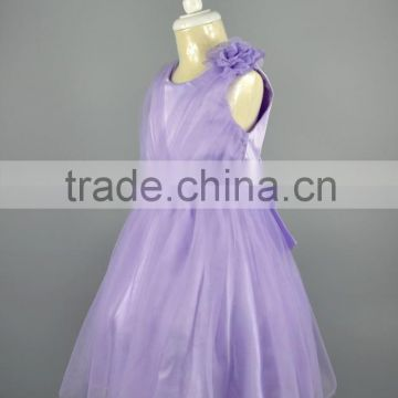 Brand New Style Lace Tutu Purple Flower Kids Wedding Gown Birthday Party Wear Princess Children Clothes Fancy Dresses For Girls