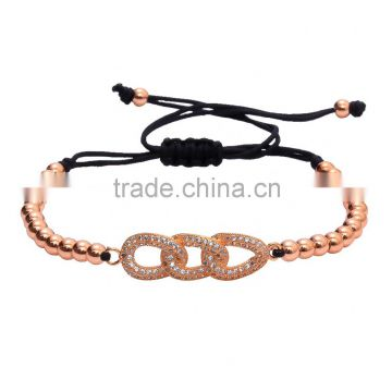 2016 Rose Gold Chain of Rings Charm 24k Copper Beads Bracelets Artificial Jewellery
