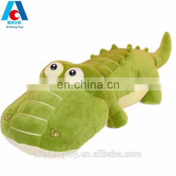 OEM custom green big eyes plush crocodile toy alligator pillow