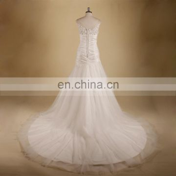 Graceful Scoop Neck Applqiue Lace & Beads Mermaid Chapel Train Pleated Tafetta Bottom Tulle Wedding Dress