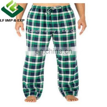 Cotton Flannel Pajama Lounge Pants-Navy/Green /White Plaid