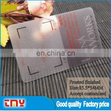 New Promotion Clear Plastic Business Cards With Frosted Finished