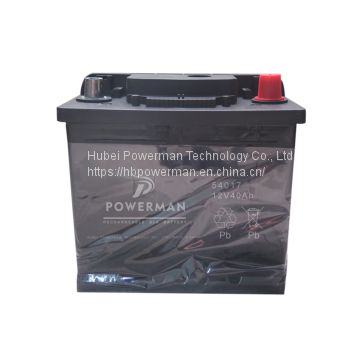 Powerman 12V 40Ah Lead Acid Portable maintenance free car battery for starting from chinese suppliers or manufacturers