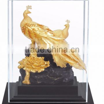 Gold foil peacock statue in Display box promotion gift