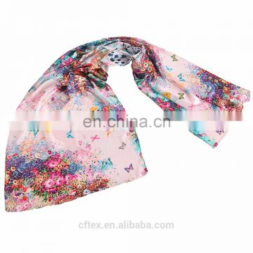 digital printing on beach silk scarf 90*90