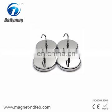 High Quality Customized NdFeB Neodymium Permanent Strong Pot Magnets With Hook Magnet