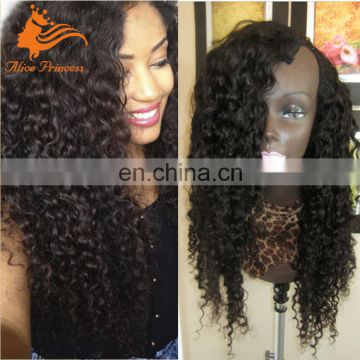 Unprocessed Indian Hair Wig For Sale 130 Density Virgin Human Hair Kinky Curly U part Wig With Baby Hair