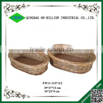 Custom wood chips and willow oval heated french bread basket