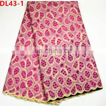 2017 African polish lace fabric / nigeria dry lace Fushia swiss voile lace for men