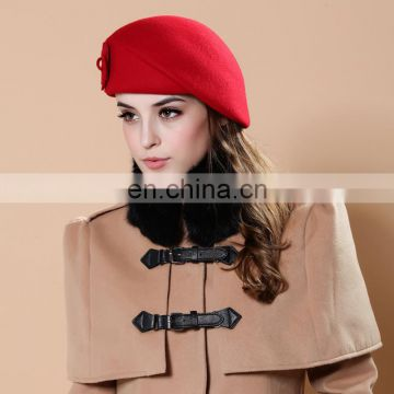 England style lady winter grace flower felt wool cap beret hat