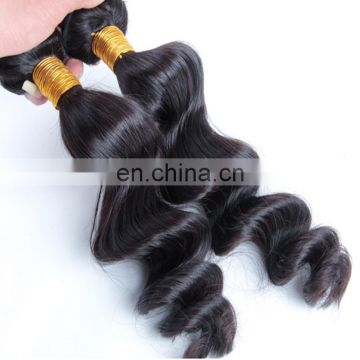 Wholesale loose wave style natural color hair weft 100% brazilian human hair extension