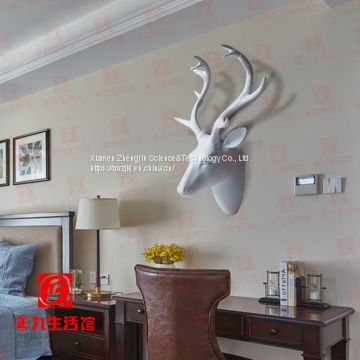 Creative Nordic style retro simulation animal deer head wall hanging decorations indoor crafts decoration wholesale market LED light