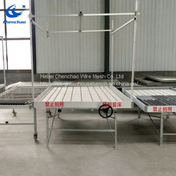 Ebb and flow rolling table for plant growing used in greenhouse