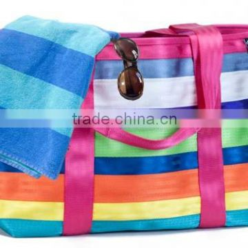 Promotional Kids Zipper Nylon Mesh Beach Bag With Pockets Whole Waterproof Polyester Tote