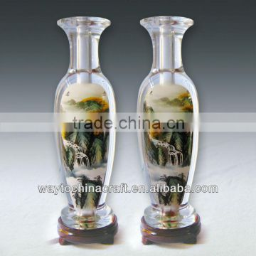 Craft Glass Vase with inside painted pattern