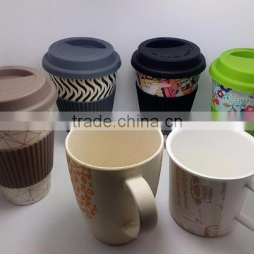 BPA Free Biodegradable Kids Tableware Bamboo Fibre Cup with Handle