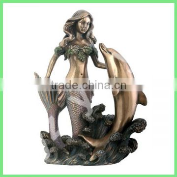garden decoration casting brass fountain of dolphin and mermaid