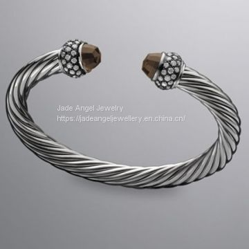 925 Sterling Silver DY Inspired 7mm Smoky Quartz Moonlight Ice Cable Bracelet
