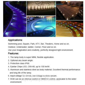 Long-lasting and easy to install led fountain light JML-UWL-D01W  LED mini underwater light 1W 2W 3W