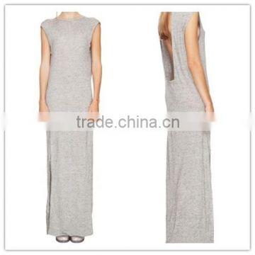 2015 China manufacturer ladies Casual Cut Out Back Long Jersey Dress                                                                         Quality Choice