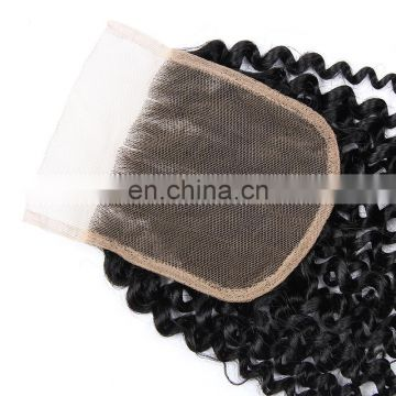 wholesale cheap 4x4 silk base human hair lace closure Brazilian hair top quality free parting closure