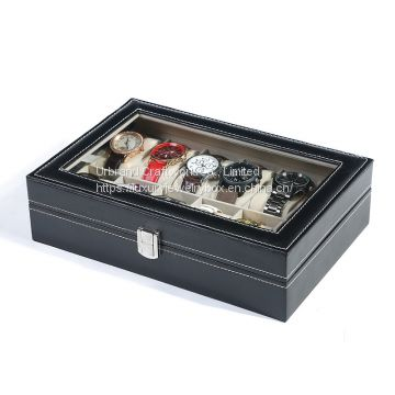 Customized Boxes & Cases Material PU leather watch box with glass top lid