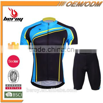 BEROY 2016 latest men's short sleeve cycling suit with padded shorts,cheap china wholesale bike clothing