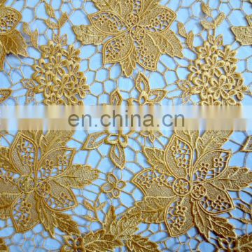 Wholesale chemical lace fabric\African wedding party lace\Guipre lace yellow color