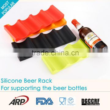 Food Grade 4 Wine Holder, Bottle Display Shelf, Silicone Beer Rack